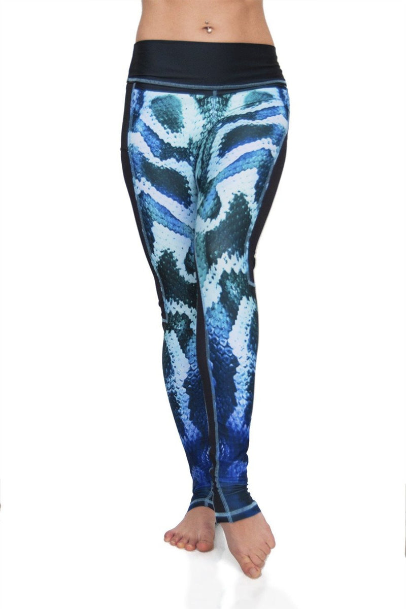 Temptation Mesh panel high waist compression fabric yoga leggings in blue to green ombre snake print. Python design front view. Eco friendly recycled fabrics. Available from Uniquely Yoga.