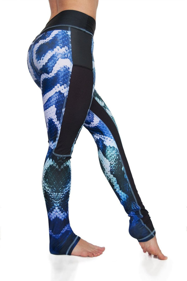 Temptation Mesh panel high waist compression fabric yoga leggings in blue to green ombre snake print. Python design side view. Eco friendly recycled fabrics. Available from Uniquely Yoga.