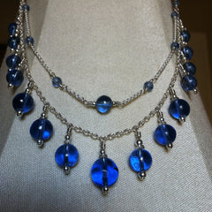Blue Vintage Glass and Silver Necklace NO 2