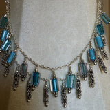 Cool Blue Furnace Glass and Sterling Silver Necklace