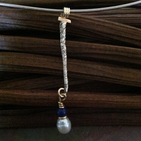 Reticulated Silver and Gold Pendant with Lapis and Pearl
