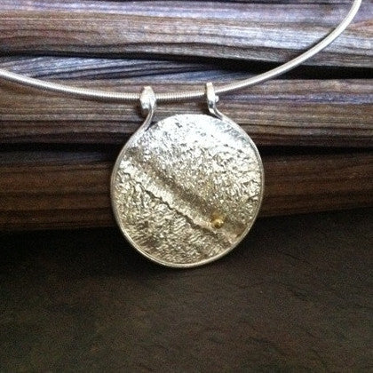 Reticulated Silver and Gold Pendant - Round