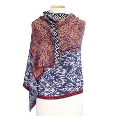 Split Tapestry Design Blue Scarf