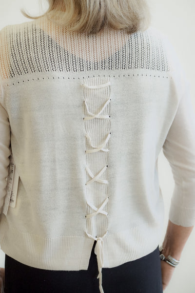 Tribal Lace Up Back Crop Cardigan Sweater