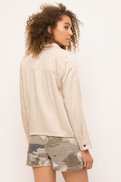 Mystree Drawstring Tencel Oat Jacket