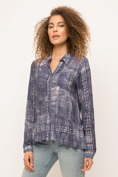 Mystree Deep Blue Button Down Top