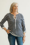 Jag Jeans Lace Up Navy Stripe Top