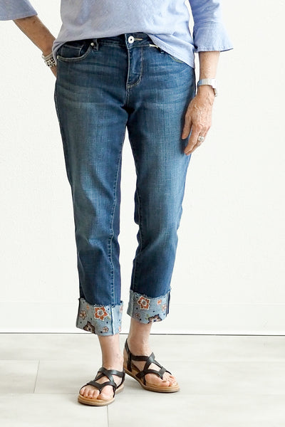 Jag Jeans Carter Girlfriend Denim With Embroidered Cuff