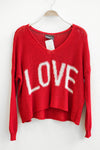 Wooden Ships Slouchy Red LOVE V-Neck Sweater
