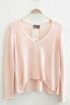 Wooden Ships Pink Suzy V-Neck Cotton Sweater