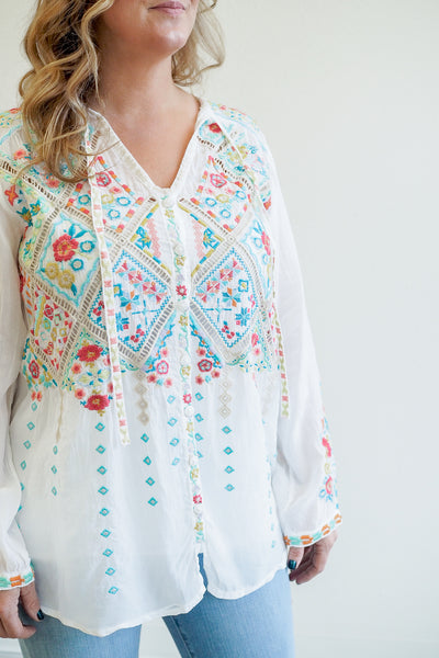 Johnny Was Arges White Embroidered Blouse