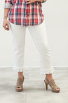 Tribal Fray Pull On Pant in White