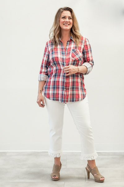 Tribal Plaid Shirt With Combo Pattern Back