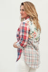 Tribal Clothing Red Plaid Shirt With Combo Pattern Back