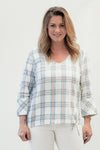 Tribal Soft Chambray Blue Plaid Blouse