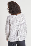 Habitat Button Back Pullover White Abstract Print Top