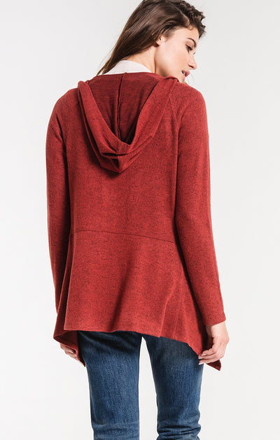 Z Supply THE MARLED HOODED WATERFALL CARDIGAN RUST RED