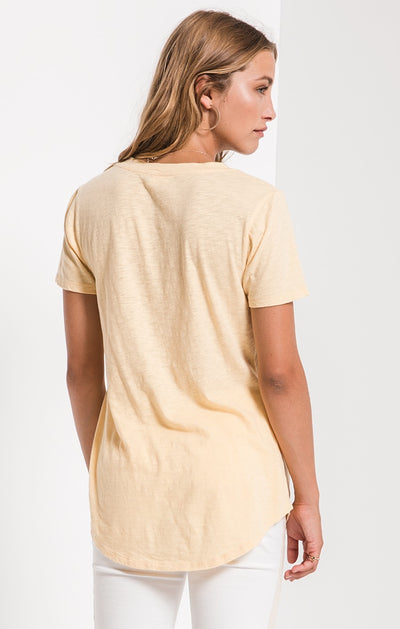 Z Supply The Cotton Slub Pocket Tee Yellow Cream