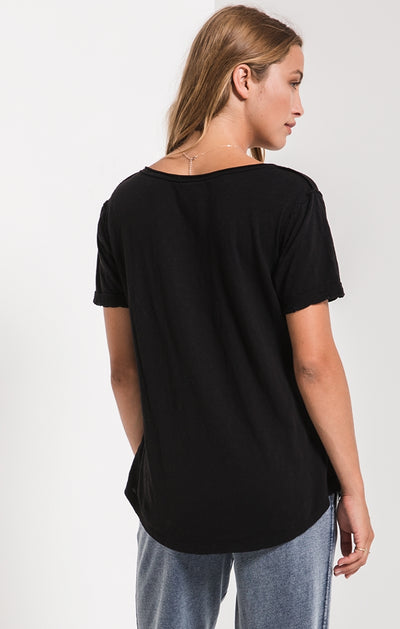 Z Supply Cotton Slub V-Neck Tee in Black