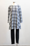 Papillon Plaid A-line Grey Sweater Dress