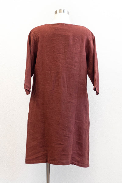 Cut Loose Tie Tunic Dress in Natural Linen/Cognac