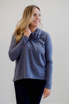Bobi Drop Sleeve Cowl Neck Top- Granite