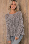 Woodenships Jax Cropped Marl Cable Ink Sweater