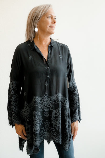 Johnny Was Love Embroidered Easy Tunic in Black
