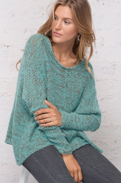 Wooden Ships Elija Slouchy  Sweater in Blue/Jade