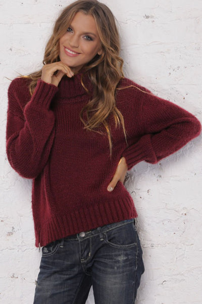 Wooden Ships Heidi Side Zip Turtleneck Sweater in Chili