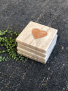 Marble Coasters w/ Acacia Wood Heart
