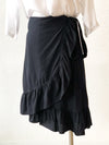 Lost River Ruffle Wrap Black Skirt