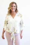 Tribal Tie Front V-Neck White Floral Blouse