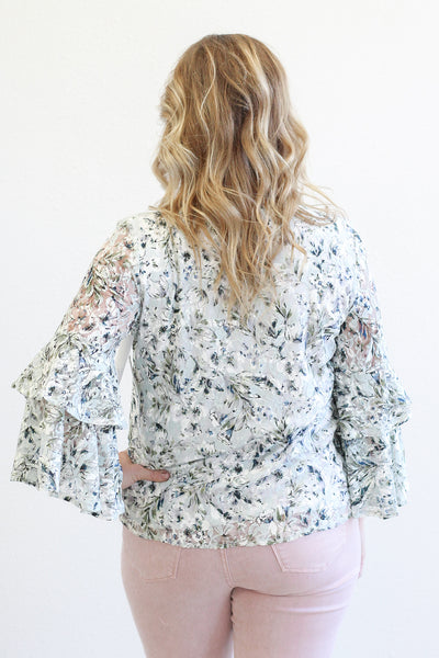 Tribal Ruffle Sleeve Floral Mint Lace Top