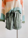 Tribal Front Tie Tencel Light Cactus Shorts