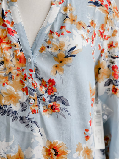 Tribal Skyway Blue Floral Blouse