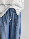 Tribal Chambray Lyocell Drawstring Palazzo Vintage Pants