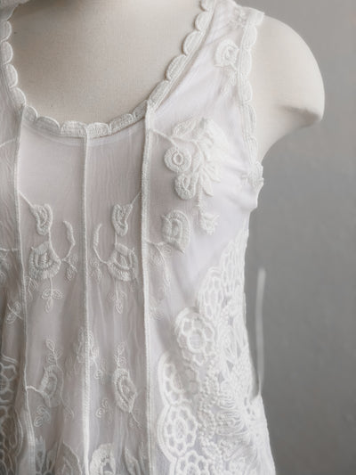 Tribal Embroidered Lace White Swing Tank Top