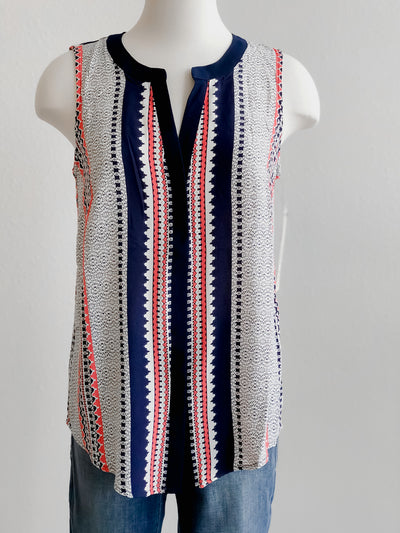Tribal Sleeveless Deep Coral Navy Blouse Tank