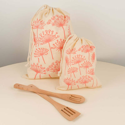 Queen Anne's Dusty Rose Reusable Cloth Bag Set