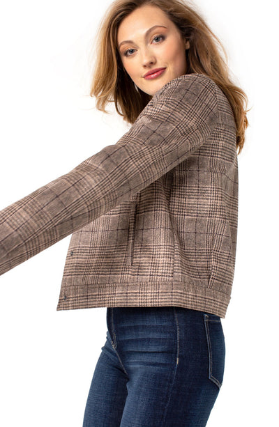 Liverpool FAUX SUEDE SEAMED PLAID JACKET