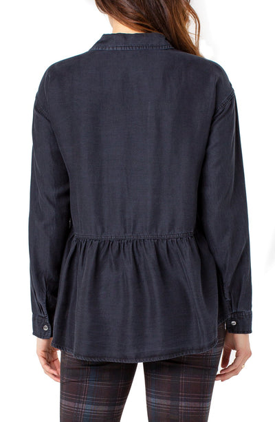 Liverpool Nebula Button Front Peplum Shirt