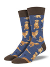 Socksmith Golden Retrievers - Blue, Men's Socks