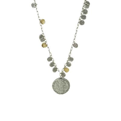 TAT2 Designs Vintage Silver Apollonia Saint Blaise Multi Coin and Pendant Necklace