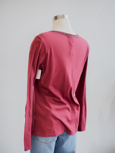 Johnny Was Zaret Button Sleeve Vino Tee