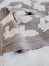 Bunny Throw Grey Baby Blanket