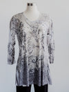 Katina Marie 3/4 Sleeve V-neck Burnout Flair Tunic