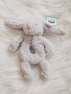 Bashful Grey Bunny Ring Baby Rattle