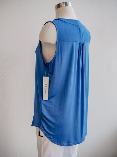 Tribal Ocean Blue Pleated Tank