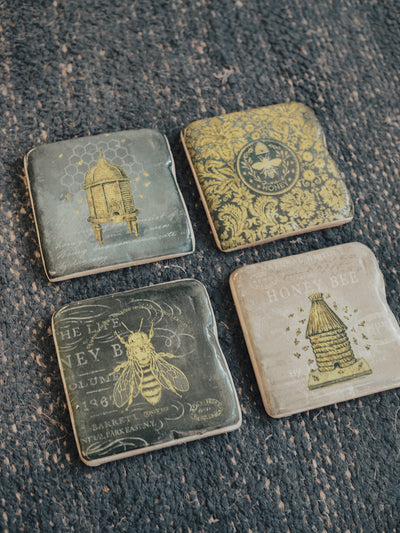 Bee Coasters with Metal Easel